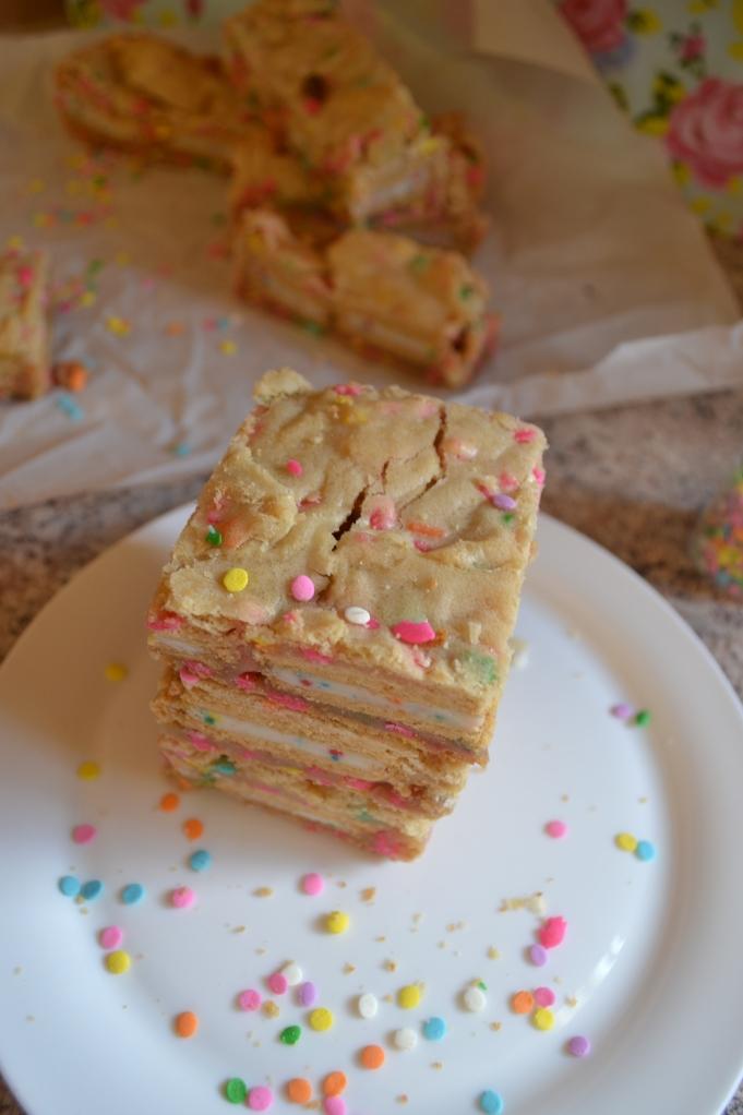 Cake Batter Layer Bars from Emily Eats Sweet Treats