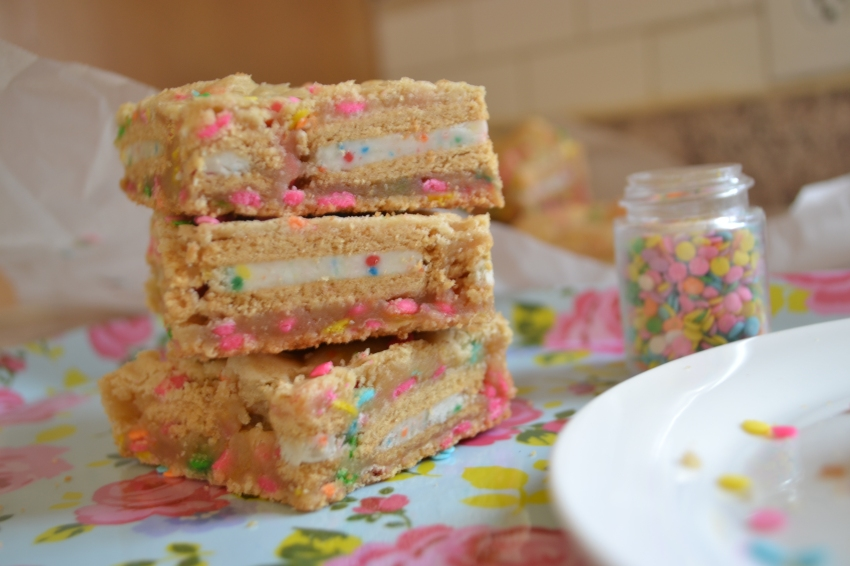 Cake Batter Layer Bars from Emily Eats Sweet Treats