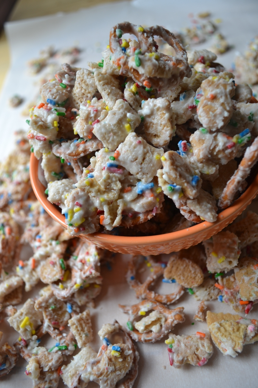 Cake Batter Chex Mix from Emily Eats Sweet Treats