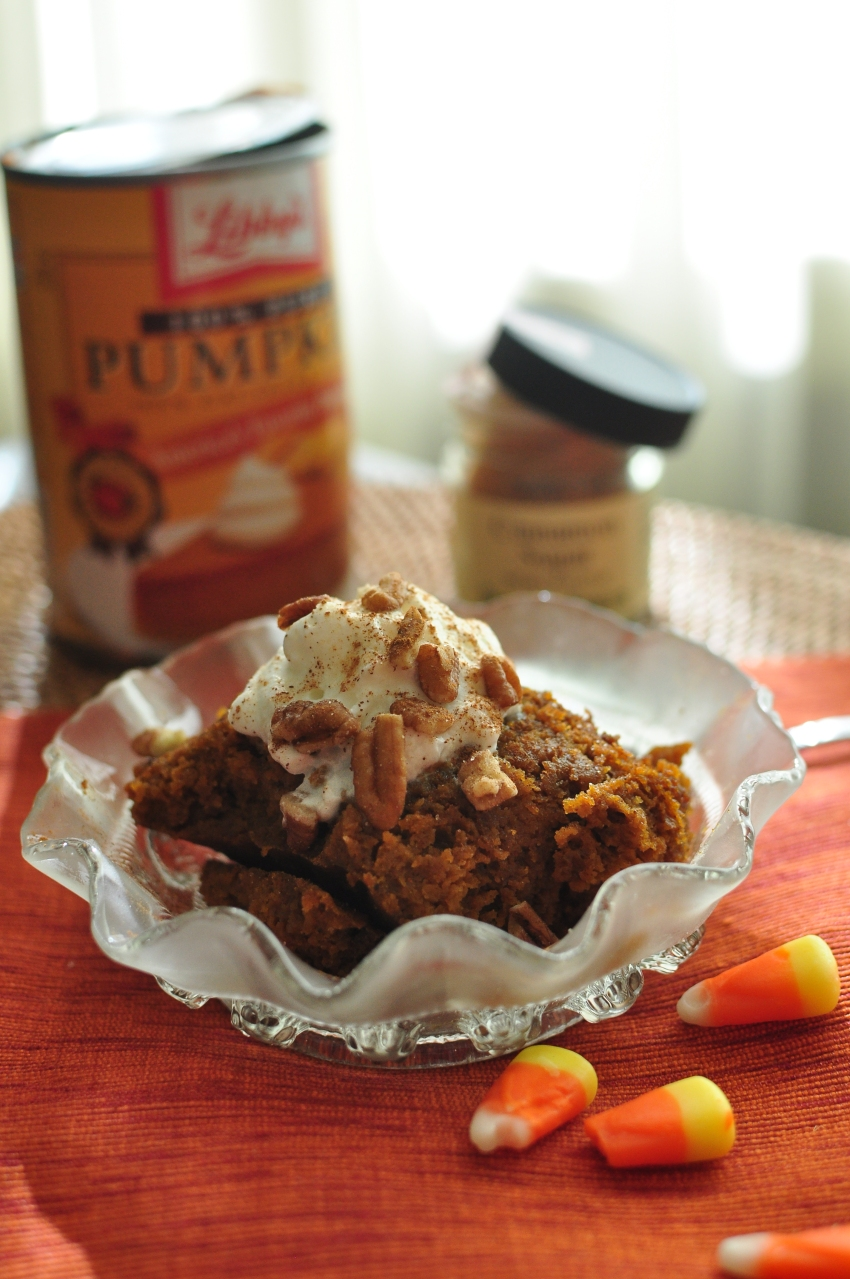Pumpkin Spice Crockpot Cake from Emily Eats Sweet Treats